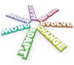 Change Adapt Evolve 3D Words on White Background