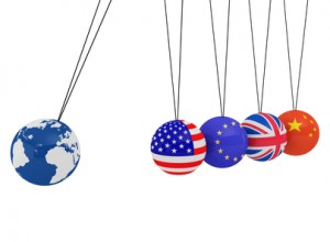 Pendulum of 3D spheres with the flag and globe