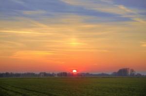 beautiful rural landscape in sunrise